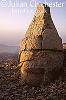 Colossal head at dawn. From the tomb of Antiochus I, King of Commagene, atop Nemrut Dagi (Mount Nimrod), Eastern Turkey. 34 BC