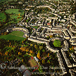 Aerial view of city of Bath