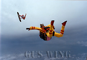 Patrick de Gayardon performs in free fall for Norman Kent and the IMAX rig, at 10,000 feet over Florida