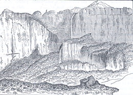 The Ledge of Roraima, from a sketch by Im Thurn, 1885